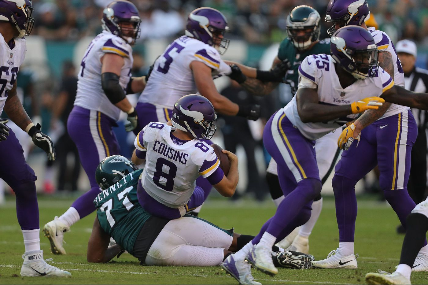 Eagles frustrated by Michael Bennett roughing-the-passer penalty in loss to Vikings   Jeff McLane