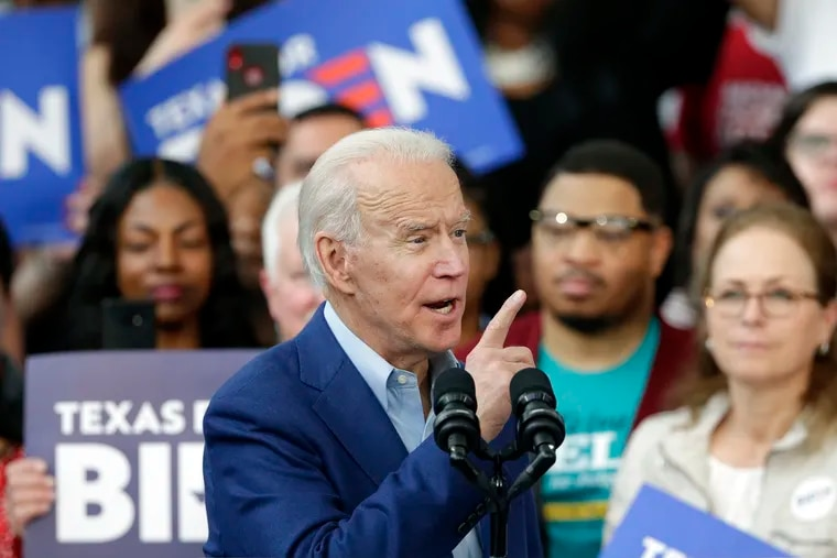 Democratic presidential candidate Joe Biden during a campaign rally at Texas Southern University in Houston on March 2, 2020.