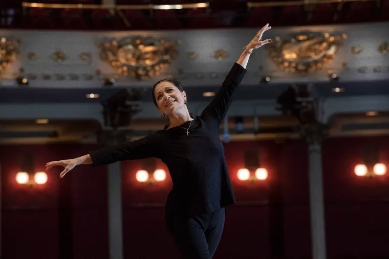 Former Pennsylvania Ballet dancer, Barbara Sandonato performs a basic foot position on the main stage at the Academy of Music in Philadelphia, Pa. Thursday, November 29, 2018. 2018 is the 50th anniversary of Pennsylvania Ballet dancing Nutcracker. The first person who danced Marie/Clara was Barbara Sandonato - who also was the first dancer in the company and its first principal dancer.JOSE F. MORENO / Staff Photographer