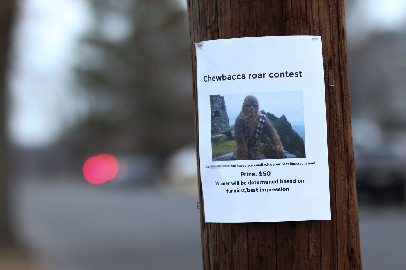 'It's a trap!' Why 'Chewbacca roar contest' fliers have been spotted around Philly and South Jersey.
