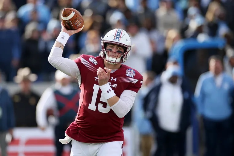 Temple quarterback Anthony Russo (15) throws a pass in the second quarter of the Military Bowl against North Carolina at Navy-Marine Corps Memorial Stadium in Annapolis, Md., on Friday, Dec. 27, 2019.