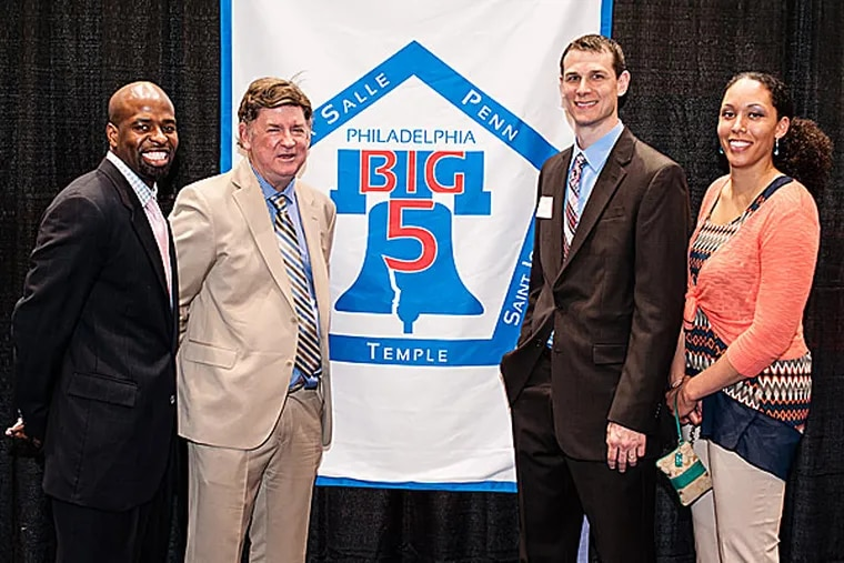 The 2014 Big Five Hall of Fame inductees are Mike Jordan of University of Pennsylvania, Dick Weiss of The Philadelphia Daily News, Pat Carroll of St. Joseph's Univeristy and Christa Ricketts of La Salle University. (Matthew Hall/Staff Photographer)