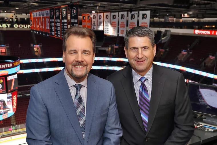 Flyers broadcasters Jim Jackson (left) and Keith Jones.