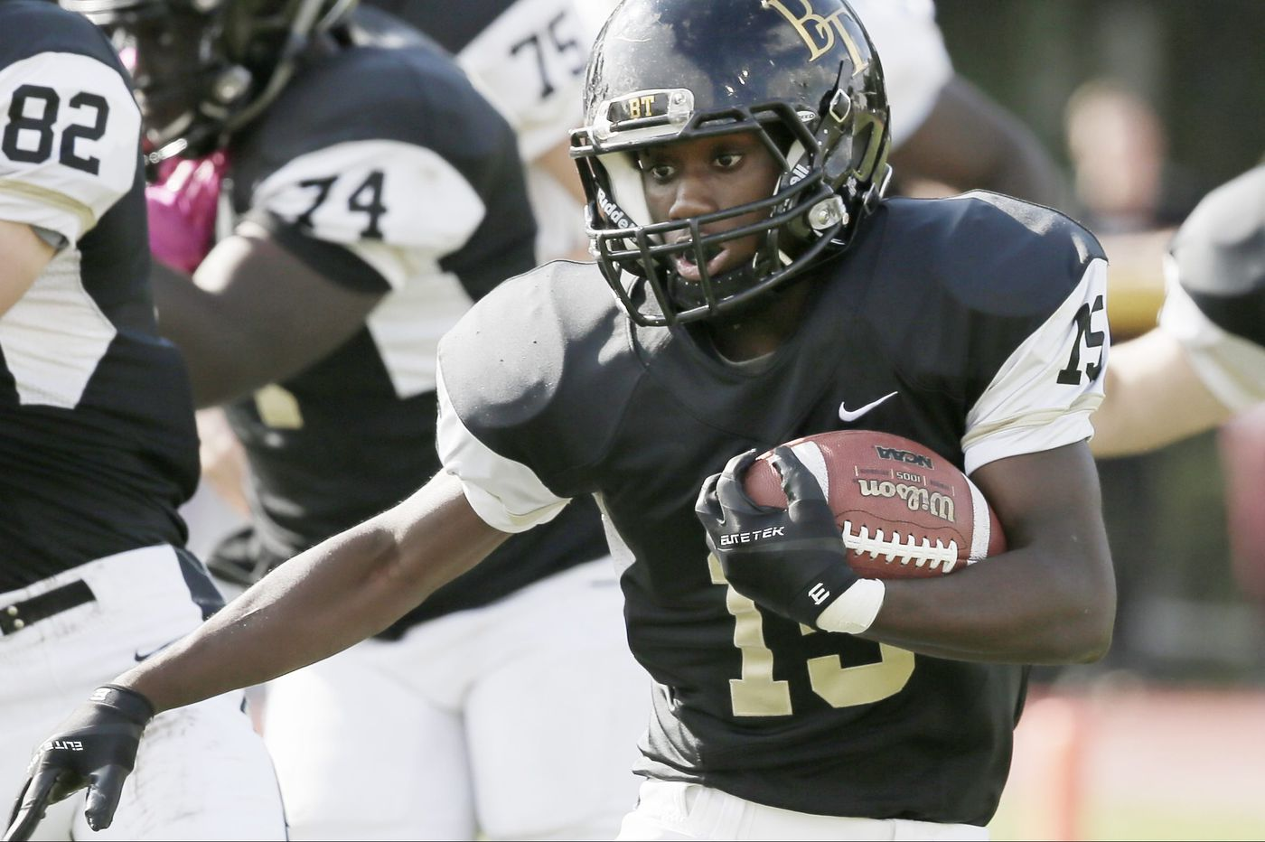 Running back Rodney Vines shows his speed, and toughness, for Burlington Township