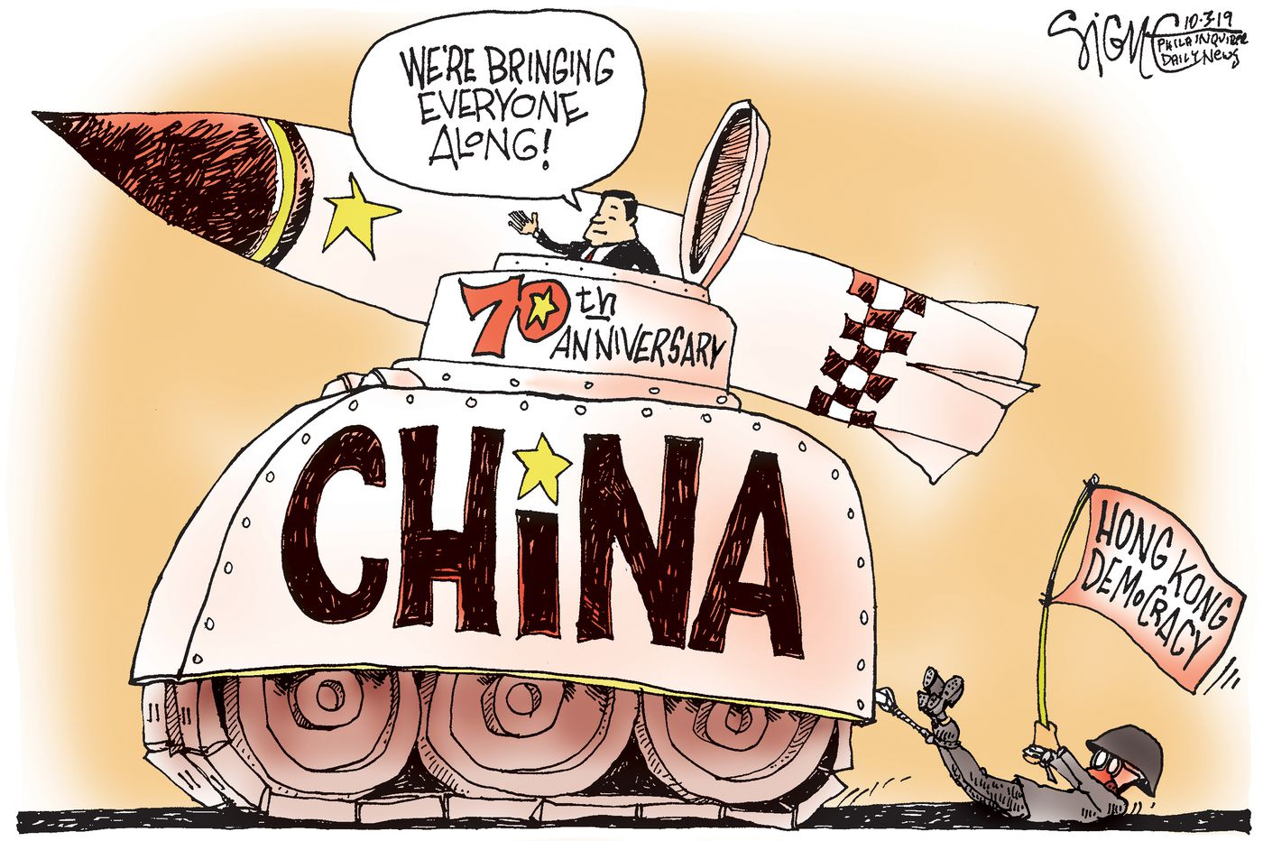 Political Cartoon: China's 70th Anniversary parade for Hong Kong