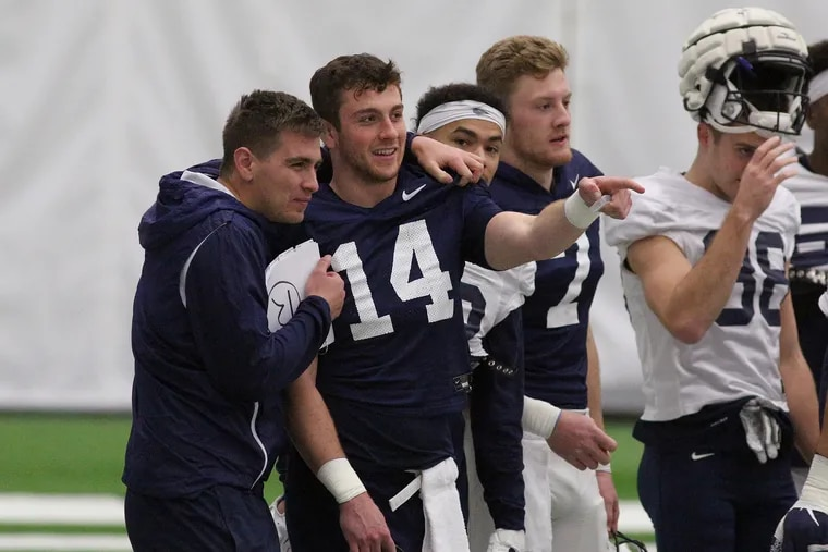 Penn State quarterback Sean Clifford (14) during the Nittany Lions' last practice in State College on Friday. They'll be leaving for Texas to face Memphis in the Cotton Bowl next Saturday.