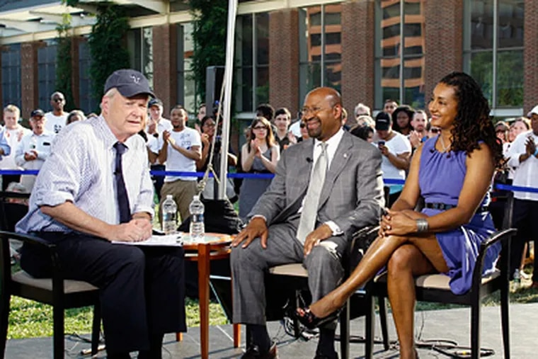 """""""Hardball"""" host Chris Matthews, with Mayor and Lisa Nutter, during taping of the show yesterday at Independence Mall. (Yong Kim / Staff photographer)"""