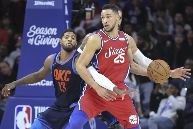Ben Simmons (right) averages 4 turnovers per game, tied for worst on the Sixers.