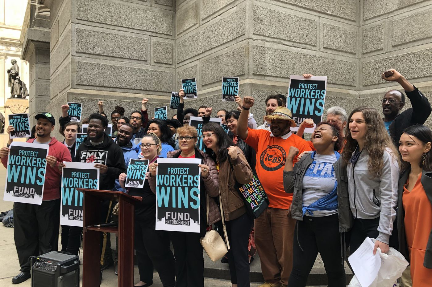 7 groups chased Council members around City Hall to make a plea for more labor enforcement funding