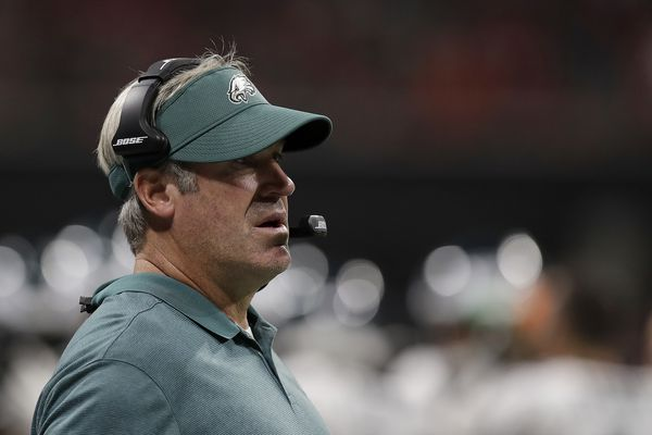 Eagles coach Doug Pederson talked about the heat Carson Wentz faced in team's 24-20 loss in Atlanta