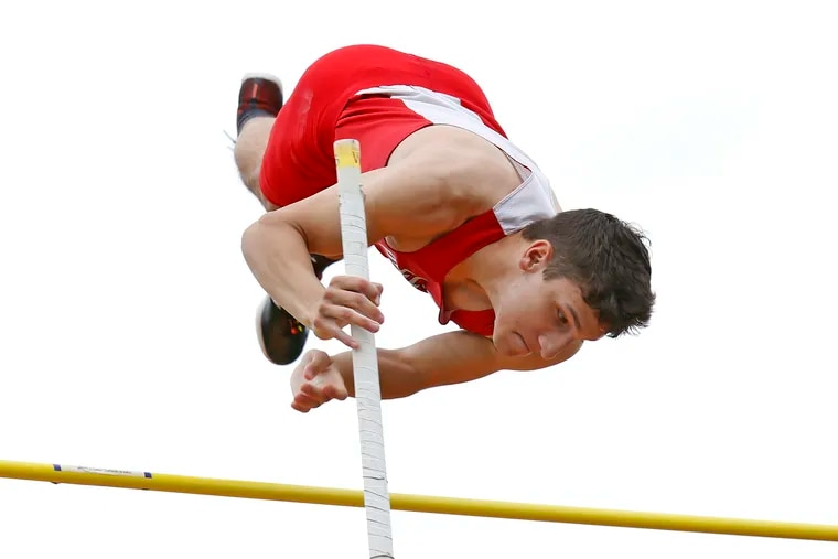 Delsea junior Marco Morales clears the bar at 13 feet in the pole vault at the Woodbury Relays on Saturday.