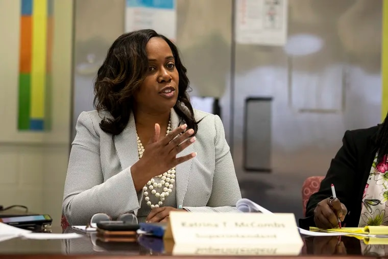 Camden School Superintendent Katrina McCombs said the school district is eagerly awaiting a decision on its request for emergency state aid. The state on Friday announced grants for 13 districts, but has not decided on Camden's request.