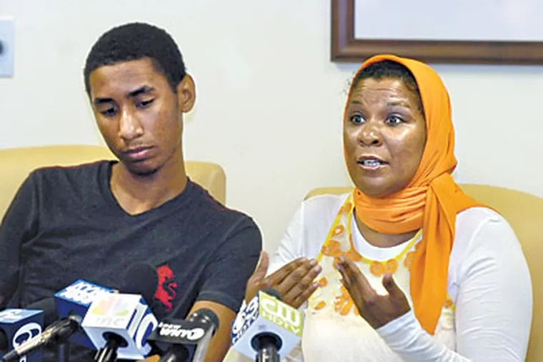 Fatima Hasan spoke about her outrage at the webcam images that led son Jalil to sue the Lower Merion School District over invasion of privacy. (RON TARVER / Staff Photographer)