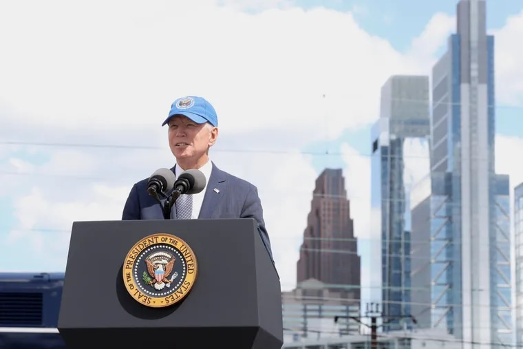 President Joe Biden speaks at 30th Street Station in Philadelphia on April 30. He is returning to Philadelphia on Tuesday to speak about voting rights.