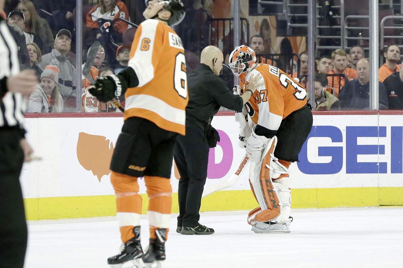 Flyers' Brian Elliott out two weeks with lower-body injury, likely to groin