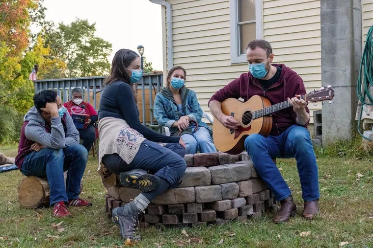 Justin Jain, Patreshettarlini Adams, Sarah Gliko, Campbell O'Hare, and Jered McLenigan during rehearsal for Heroes of the Fourth Turning with Wilma Theater.