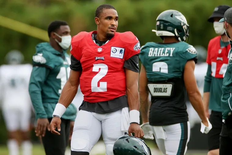 Rookie quarterback Jalen Hurts (2) adds some mystery to the Eagles' roster. How will they use him?
