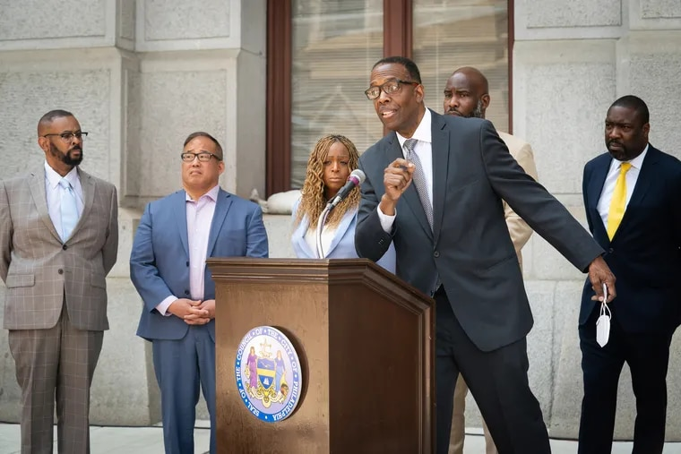 City Council President Darrell L. Clarke speaks at a news conference in July about the city's new anti-violence grant program.