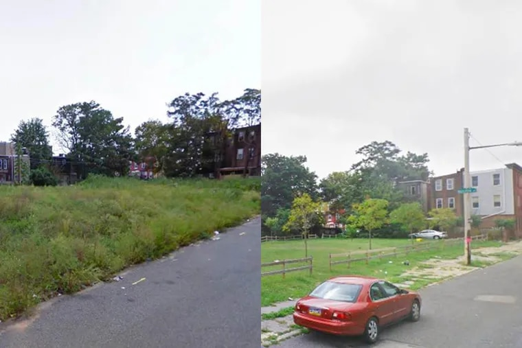 Researchers found that feelings of depression decreased among residents surrounding vacant lots that were transformed from blighted parcels, left, to green space. The lot shown, at the corner of N. 7th and West Boston Streets, was not part of the study but underwent the same treatment as lots in the study.