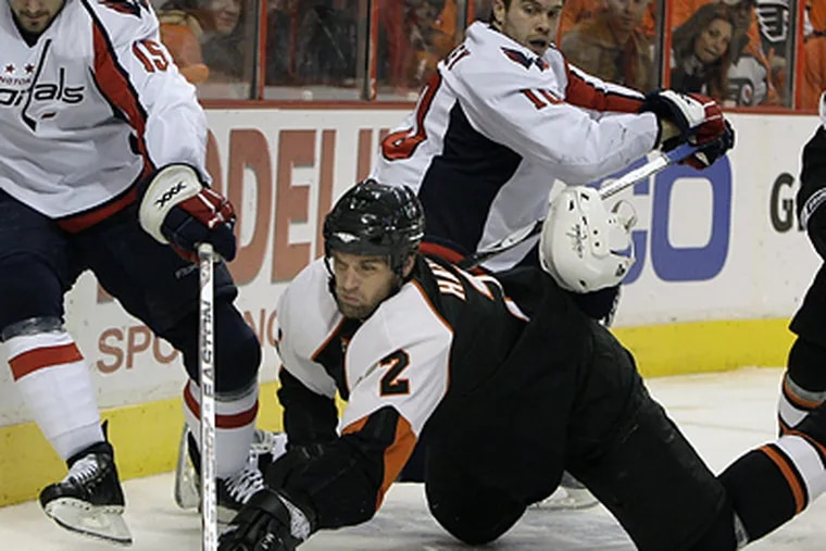 The Flyers are very tight under the cap and would likely welcome the chance to use Derian Hatcher's $3.5 million salary toward signing a free agent. (Ron Cortes/Inquirer)