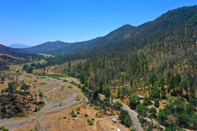 One of the carbon offset areas purchased by oil companies is north of Clear Lake, Calif., just west of Vann, Calif., much of it burned by wildfires.