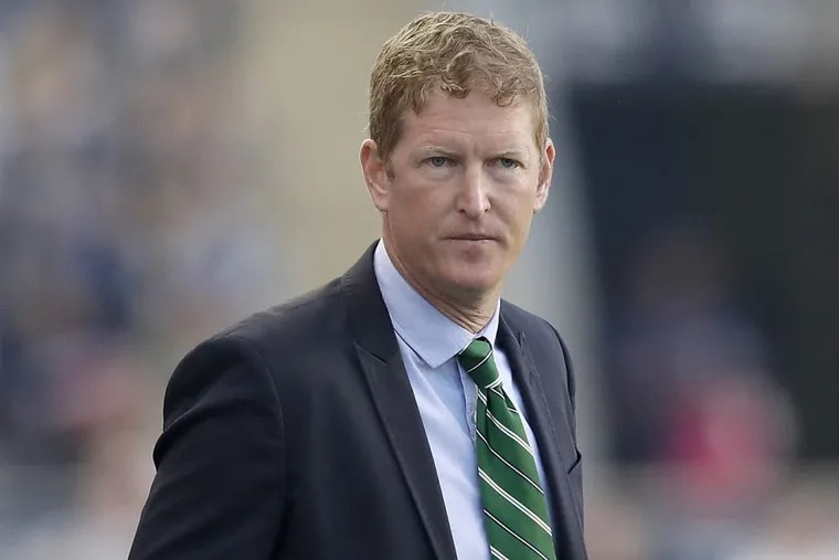 Union Head Coach Jim Curtin during the first-half while his team played New York City FC at Talen Energy Stadium on Friday, April 14, 2017 in Chester, Pa.