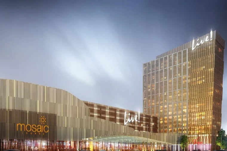 Architect's rendering of the Philly Live! Hotel and Casino. The casino's developer says the $700 million complex will be operating in two years.