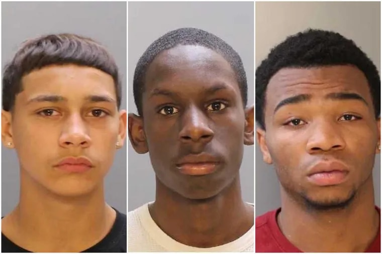 Brandon Conrad, 14, Malik Page, 16, and  Emmanuel Harris, 17, (l-r) have been charged as adults.
