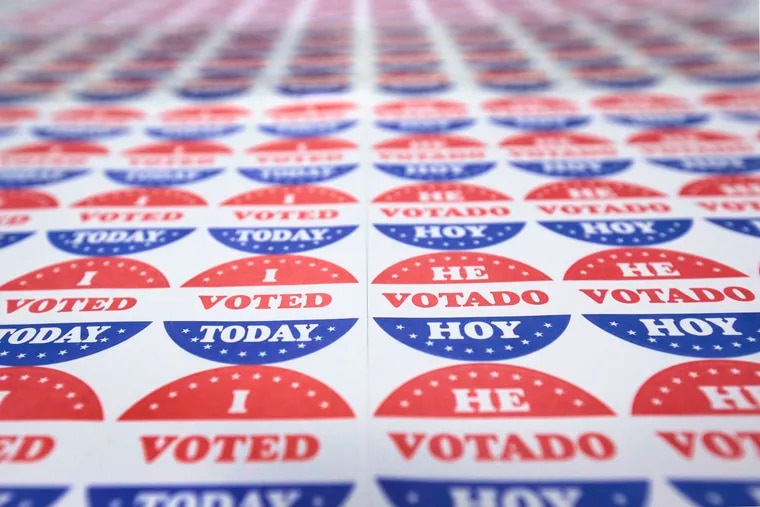 """The """"I VOTED TODAY"""" stickers that Philadelphia gives out every election."""