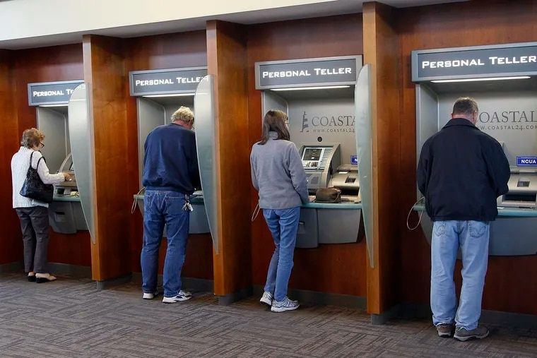 Technological advances are eliminating the need for bank tellers, threatening an entry point for women into the male-dominated industry that has sought to promote more females to leadership roles. Here customers have a live conversation with the teller on a screen as they conduct business by machine.