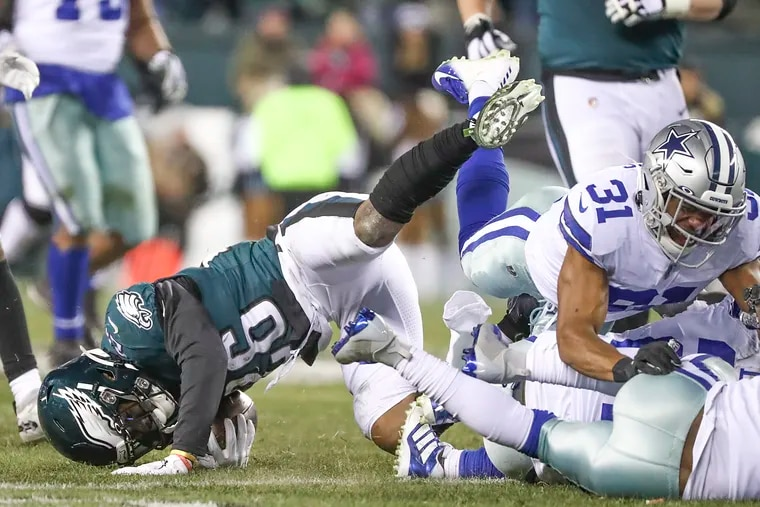 Eagles running back Miles Sanders on a fourth-quarter carry.