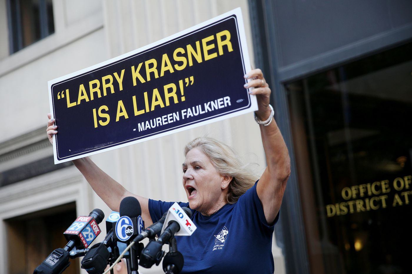Maureen Faulkner leads protest against Philly DA Krasner over Mumia Abu-Jamal appeals