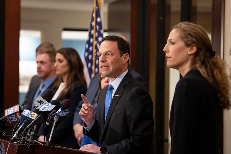 Pennsylvania Attorney General Josh Shapiro announced charges against the operators of Liberation Way, a Bucks County drug treatment center, during a press conference at the Attorney General's office in Philadelphia Monday.