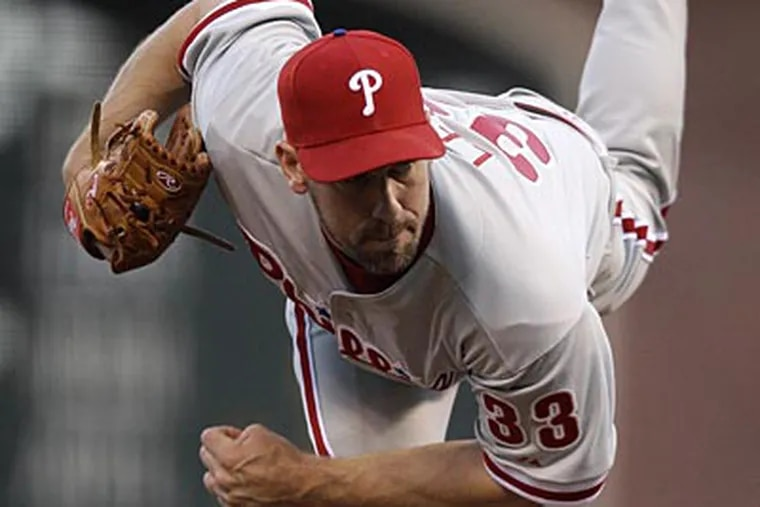 """""""We erred on the side of caution and played it safe,"""" Cliff Lee said about his injury. (Marcio Jose Sanchez/AP)"""