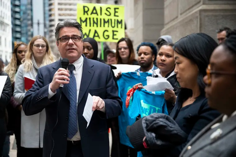 City Councilmember Bobby Henon speaks outside of City Hall at a February press conference.