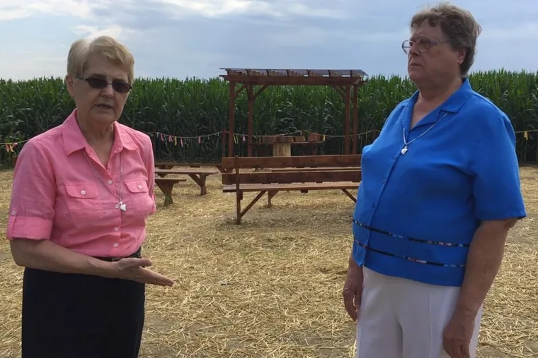 Sisters Bernice Klostermann and  George Ann Biscan, both Roman Catholic nuns, in front of an arbor, that some call a prayer chapel, erected in a clearing on the order's Lancaster County farm in an attempt to protest the planned Atlantic Sunrise pipeline that would run through the field.