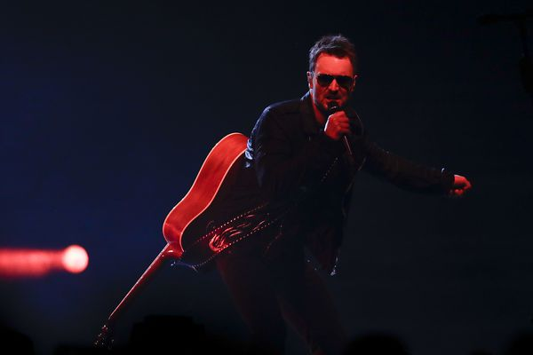 Country outlaw Eric Church, in the first of two marathon shows at the Wells Fargo Center