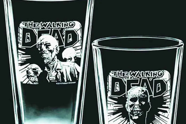 """""""Walking Dead"""" pint glasses for friends with a zombie bent who also like to bend their elbows."""