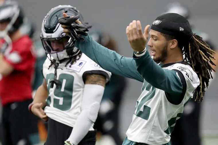 Eagles cornerback Sidney Jones dances as he warms up during Eagles practice at the NovaCare Complex on Thursday. He is expected to play a lot Sunday against the Giants.