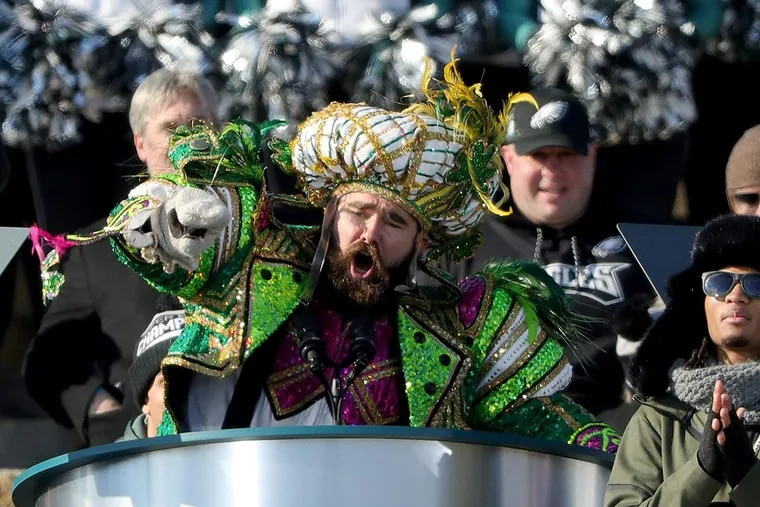 Dressed in Mummers attire, Eagles center Jason Kelce in 2018 lauds the whole team. Wednesday, he ripped the whole team.