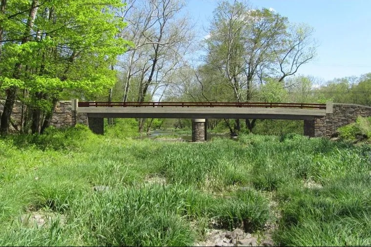 A rendition of a replacement for the Headquarters Road Bridge spanning Tinicum Creek in Bucks County.