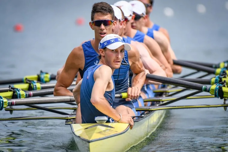 Julian Venonsky, of Malvern, Pa., coxing the United States eight at the 2019 World Championship regatta.