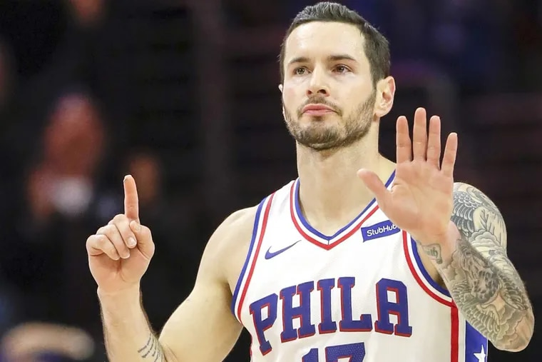 The Sixers have caught the attention of ESPN. First-year shooting guard JJ Redick, shown here after making the sixth of his eight three-pointers three weeks ago against Orlando, is a big reason why. YONG KIM / Staff Photographer