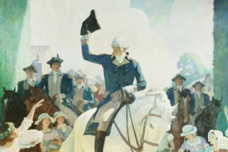 """Detail of N.C. Wyeth's 17-by-12-foot mural, """"Reception to Washington on April 21, 1789, at Trenton on his way to New York to Assume the Duties of the Presidency of the United States,"""" donated by  Wells Fargo Bank to Thomas Edison State University in Trenton, N.J."""