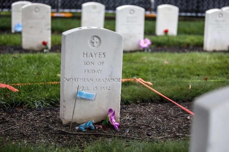 The headstone of Little Plume (aka Hayes Vanderbilt Friday), at Carlisle Barracks Cemetery in Carlisle, Pa.