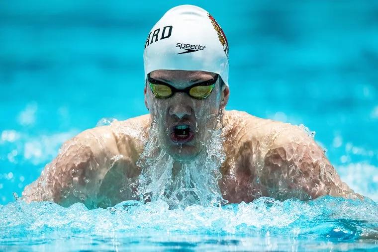 David Abrahams swimming for Harvard.