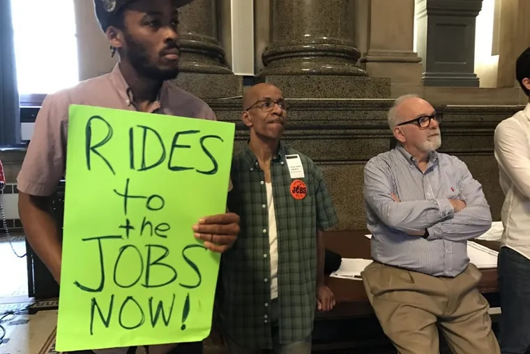 Unemployed chef Thomas Jimenez, of West Philadelphia, center, would like to get a job as a chef in a suburban country club where the pay would be better. But he doesn't own a car and can't get to those jobs.