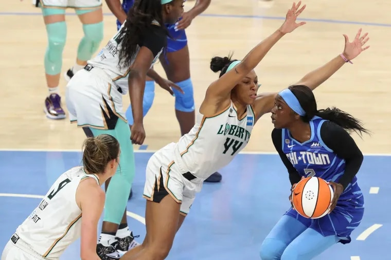The New York Liberty's Betnijah Laney (44) and Chicago Sky's Kahleah Copper (2) are two of the best WNBA players from the region.