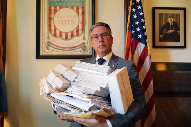 Philadelphia City Commissioner Al Schmidt with the 365 absentee ballots that came in after the 2016 general election deadline.