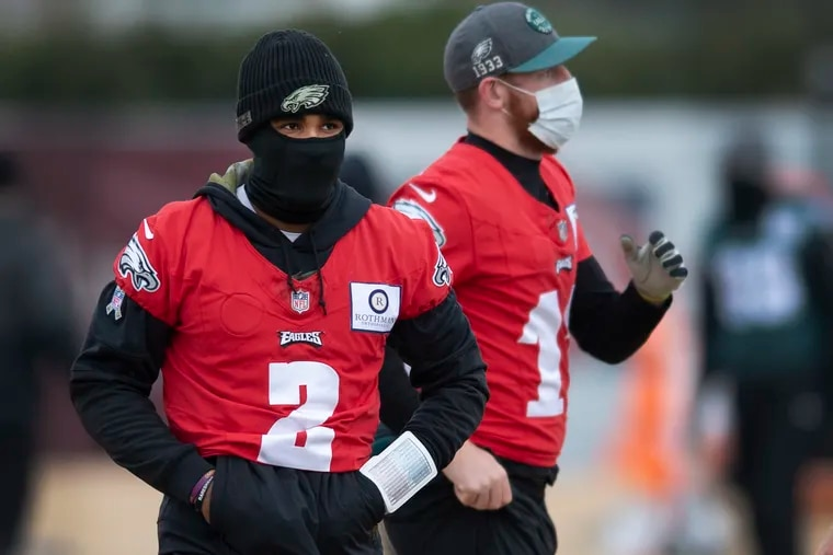 Jalen Hurts and Carson Wentz weren't avoiding one another at Wednesday's practice, Hurts' first as the Eagles' starting quarterback.
